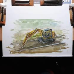 Excavator painted gouache and aquarelle