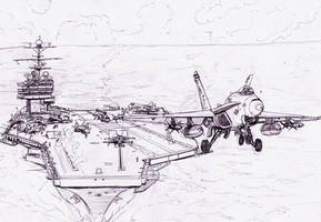 F18 taking off by Bidass
