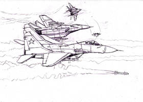 Squadron of Mig29 by Bidass