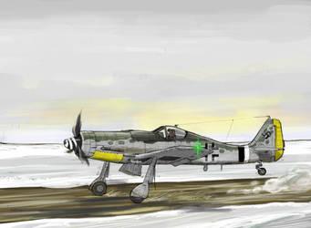 FW190D-9 Taking off by Bidass