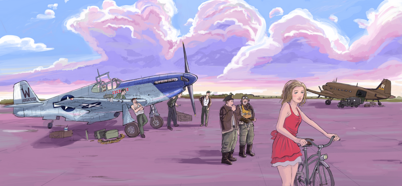 working on the P-51 Mustang by Bidass