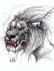 Black and White - Evil Lion by EllisonPav