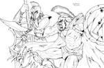Leonidas v Achilles -Lineart