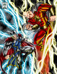 Thor vs Cap Marvel colored