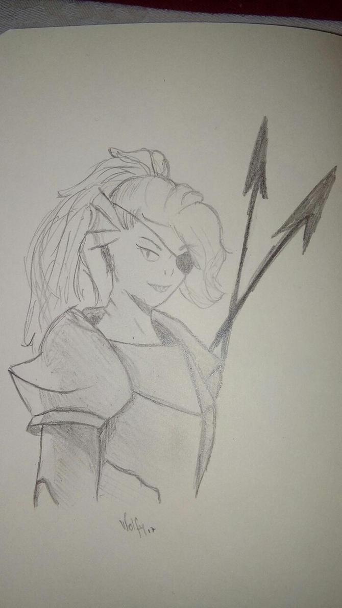 Undyne sketch by HumanLykos