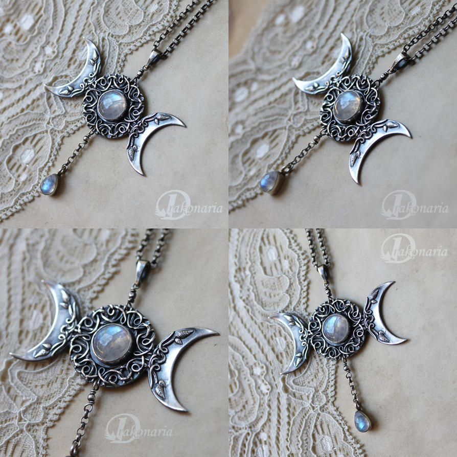 magical wooden necklaces jewelry necklace triple pendant moon detail