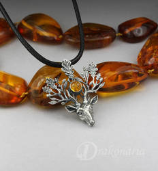The Light Bringer - silver stag with Baltic amber by drakonaria