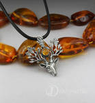 The Light Bringer - silver stag with Baltic amber