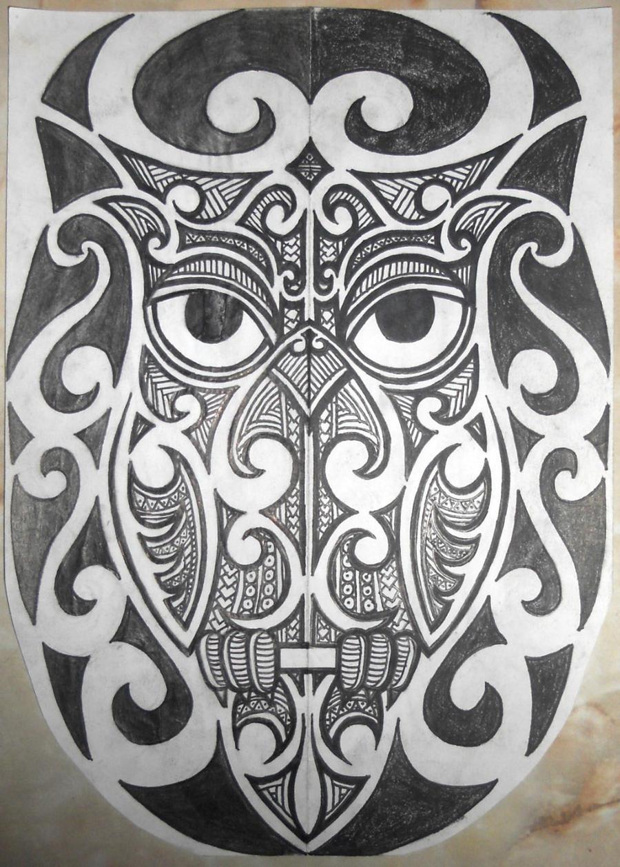 Tribal Maori/Polynesian Owl tattoo Half-sleeve by ounotinof