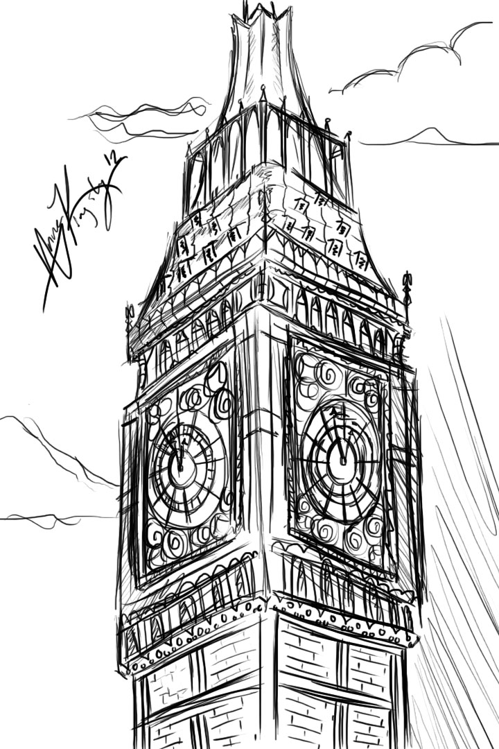 cloudlightning clock tower sketch 4 by anjidu