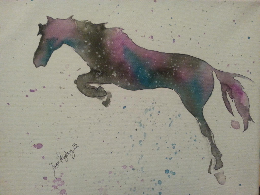 horse on canvas by Anjidu