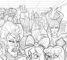 (COLORING PAGE) Disney Villain Cafe by Witchin