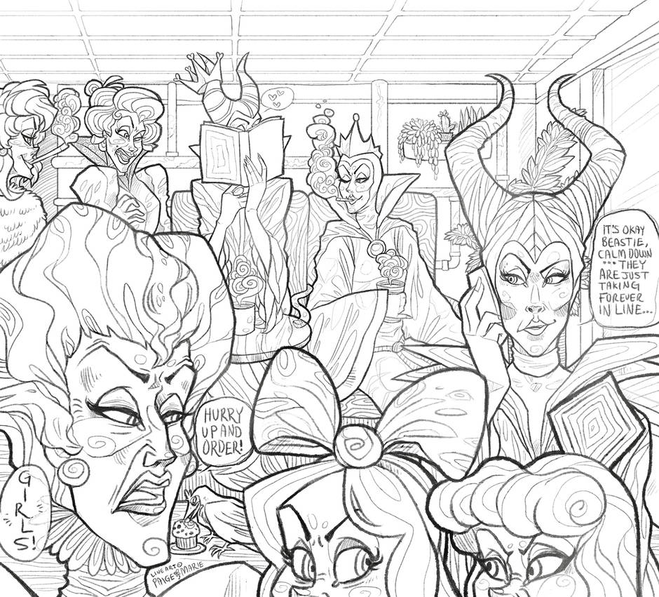 (COLORING PAGE) Disney Villain Cafe by Witchin on DeviantArt
