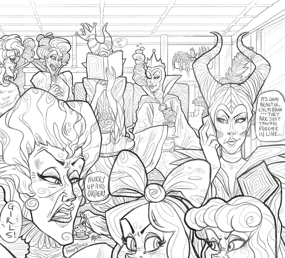 COLORING PAGE) Disney Villain Cafe by Witchin on DeviantArt