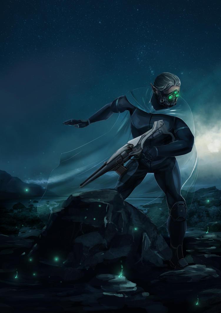 Nocturnal mantle Elven scout by Igor-Esaulov