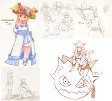 FFxiv Sketches by Lyra-Kotto