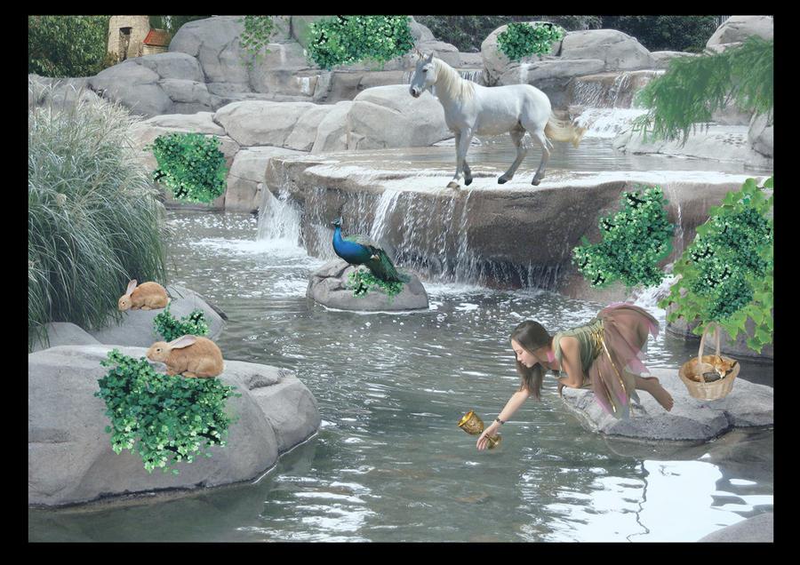 Fantasy waterfall by SuneeStride