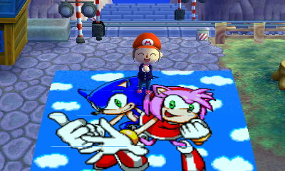 Animal Crossing New Leaf Sonic and Amy Mural by CallieMacN