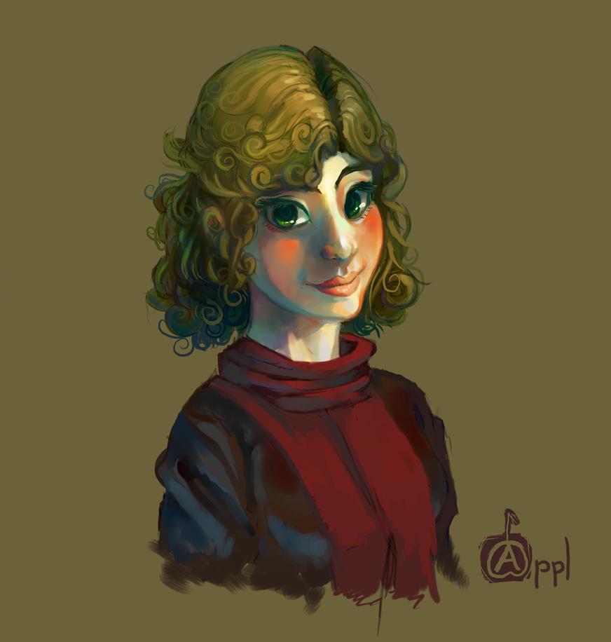 Green Haired Girl by ApplFruit