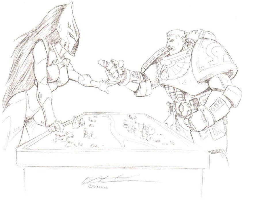 Space Marines vs. Eldar by myshoescramp