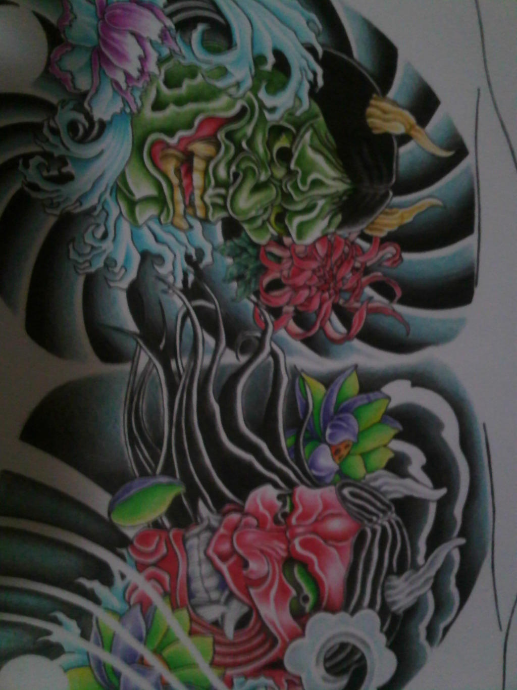hannya masks chest tattoo design coloured by crimeskull on deviantart. Black Bedroom Furniture Sets. Home Design Ideas