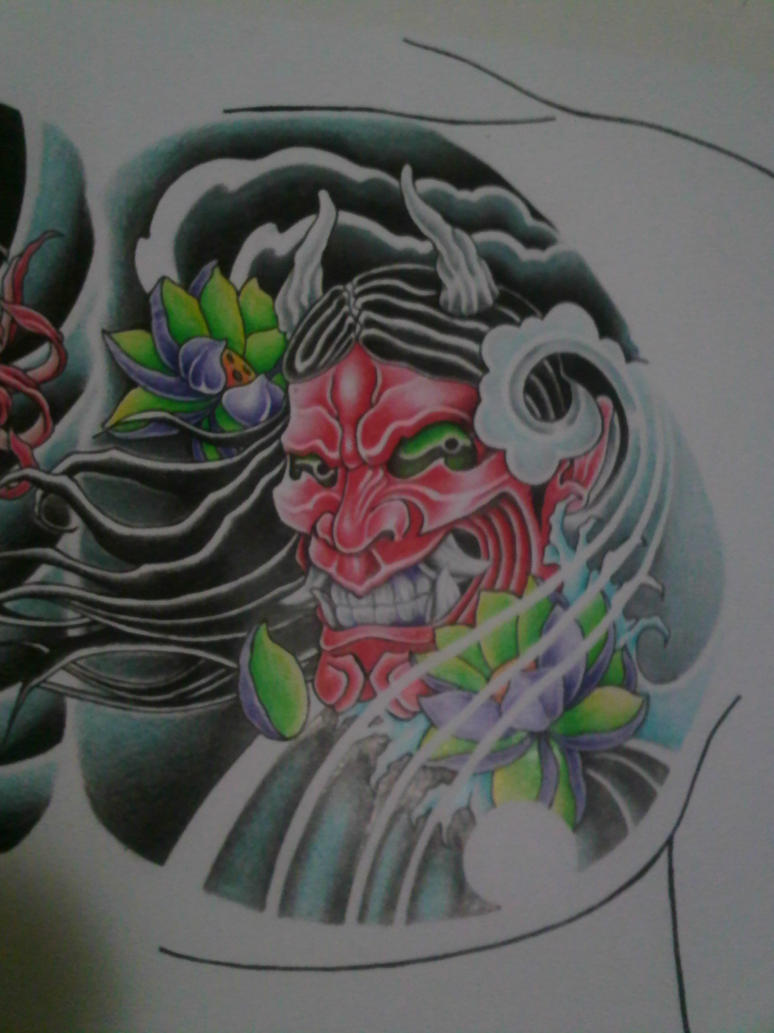 Hannya mask chest tattoo design right side detail by crimeskull on ...