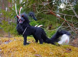 The Dark Spirit Wolf - Art Doll by Escaron