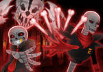 Underfell_Papyrus and Sans