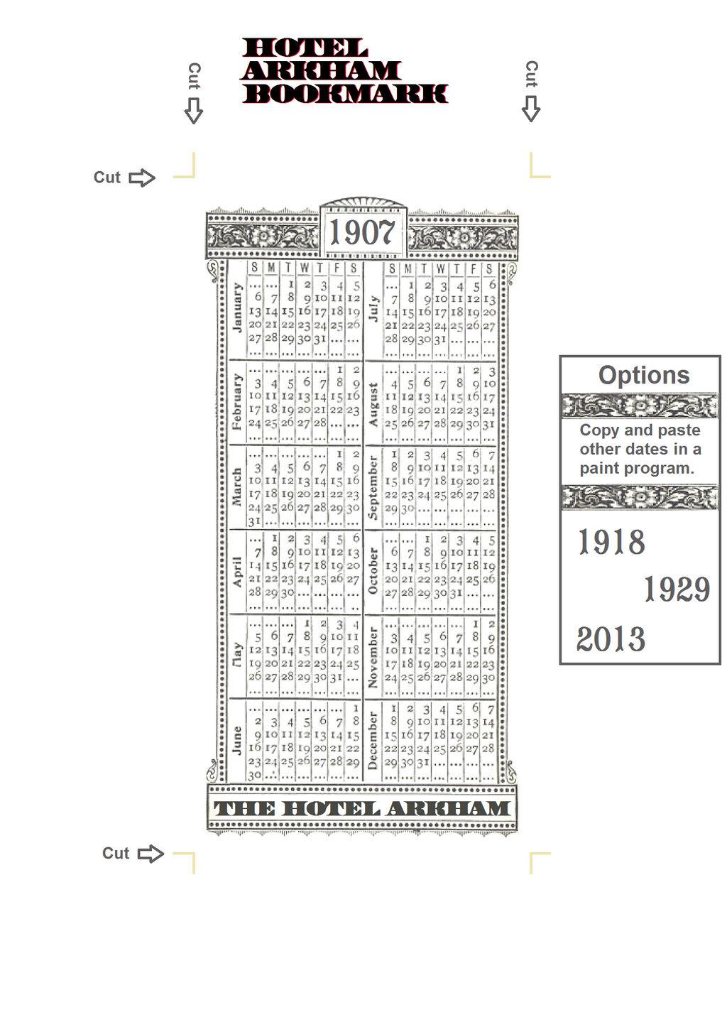 Hotel Arkham Calender Bookmark (front)