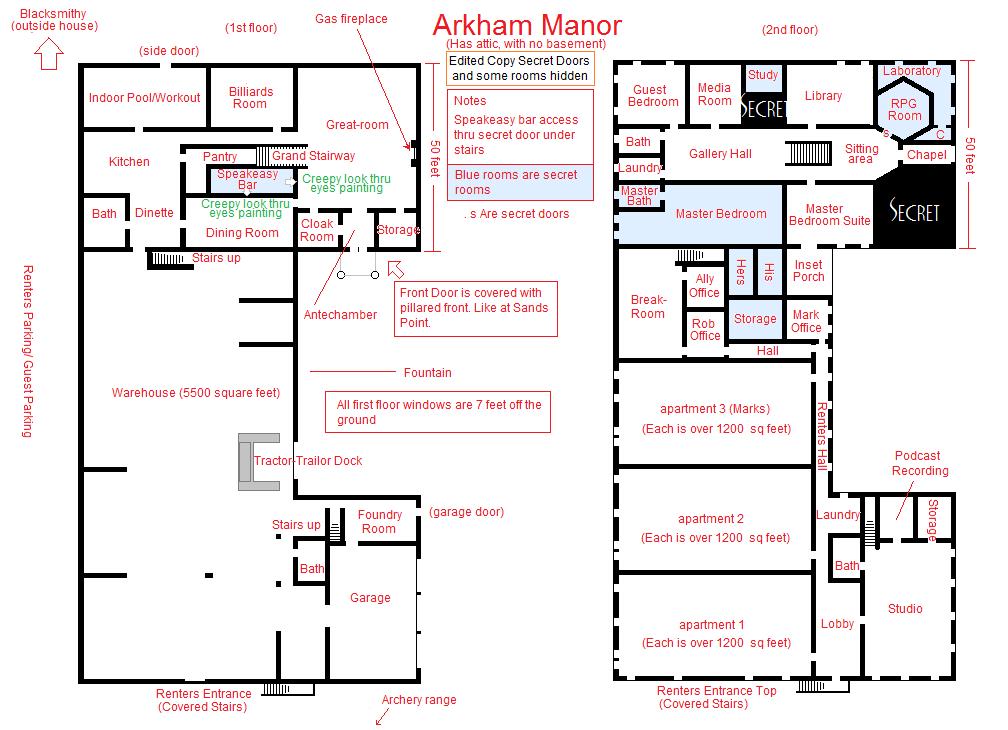 Arkham Manor (Basic Floorplan)