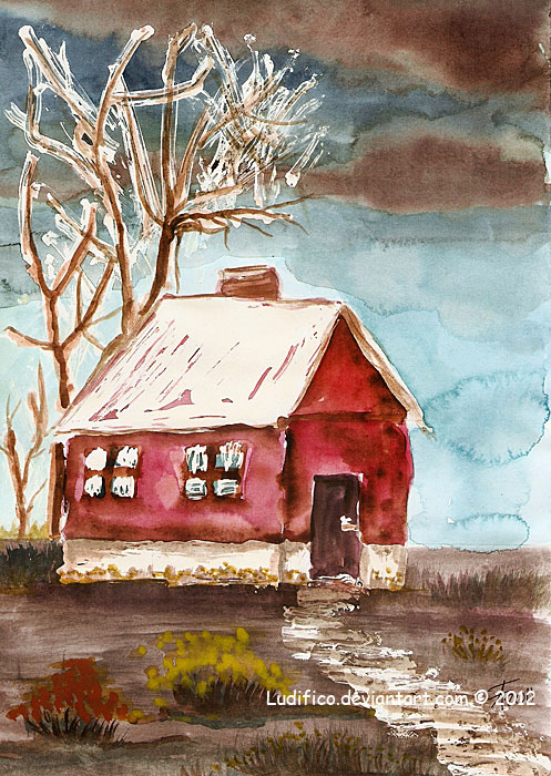Red house in the village by Ludifico