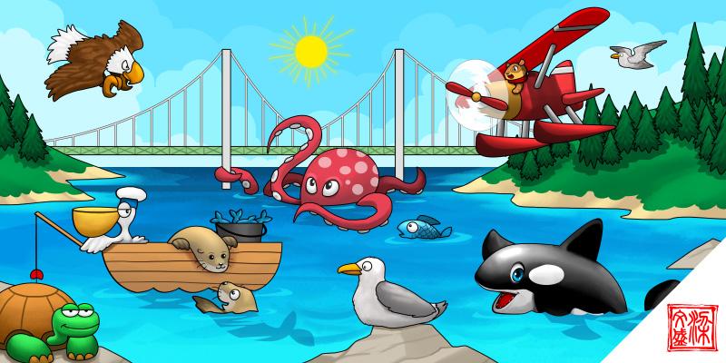 Octopus under the bridge. by Wenart