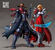 Gunslinger and swordbearer by Wenart