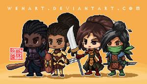 pixel character team by Wenart