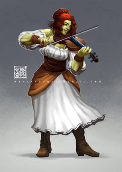 musician orc lady