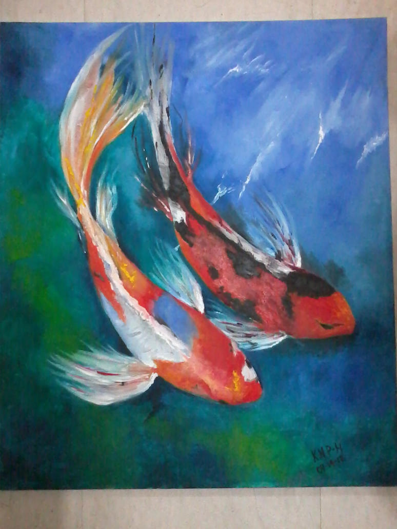 Koi oil painting by nixicole on deviantart for Koi fish artwork
