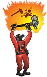 The Pyro wielding his haunted Axtinguisher