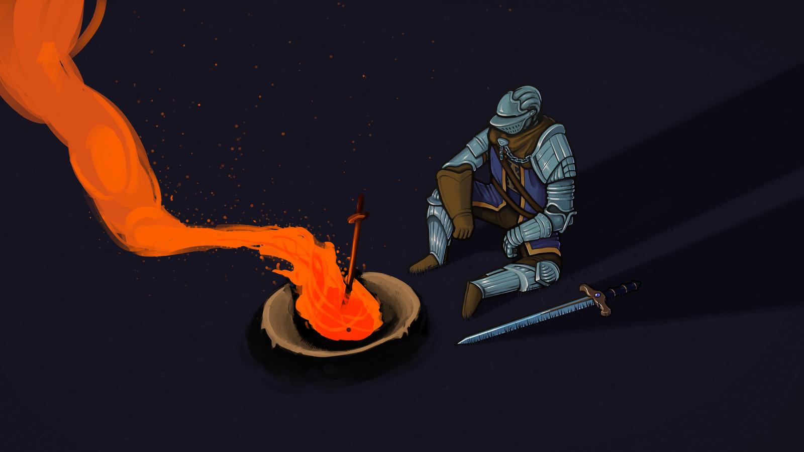 Elite knight enjoying a bonfire