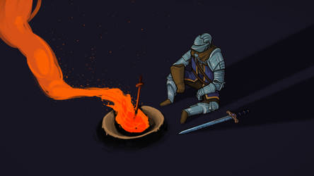 Elite knight enjoying a bonfire