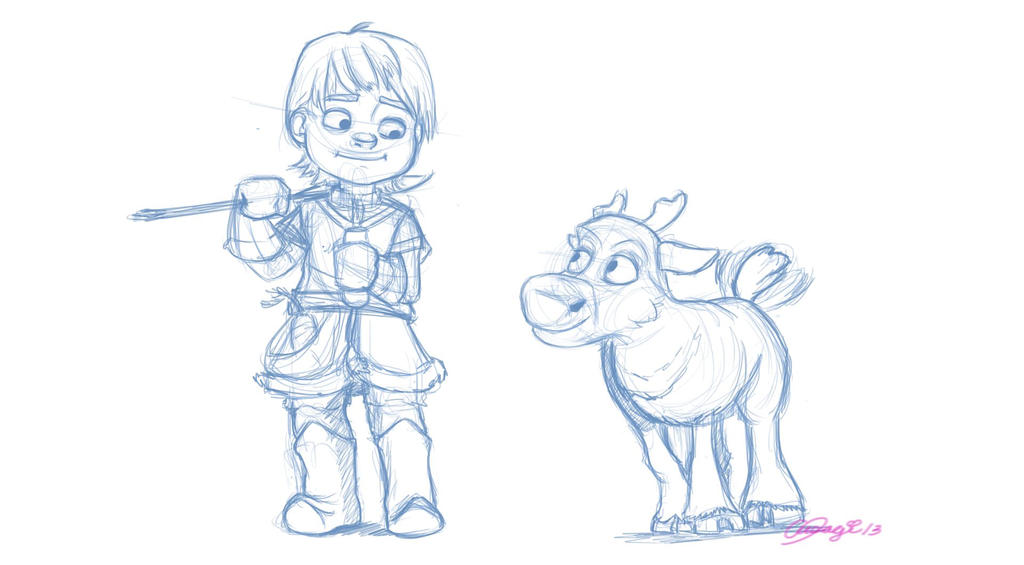 Young Kristoff and Sven Doodle by luvusagi