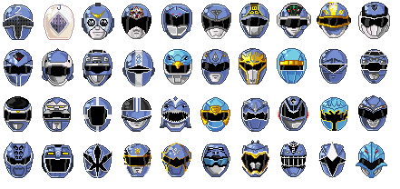 Super Sentai Blue Head Pixeled by sdmarquez