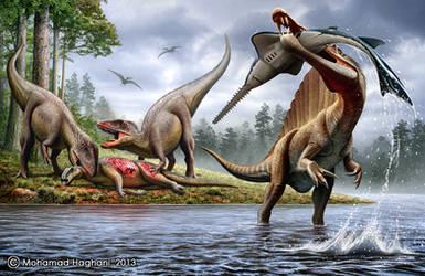 Spinosaurus , Onchopristis , Carcharodontosaurus by haghani