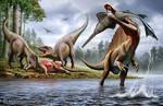 Spinosaurus , Onchopristis , Carcharodontosaurus