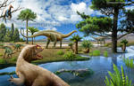 Some of the Jurassic period dinosaurs and plants