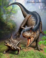 Carnotaurus is attacking Antarctopelta by haghani