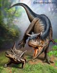Carnotaurus is attacking Antarctopelta