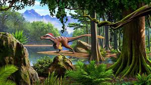Utahraptor in a Cretaceous landscape