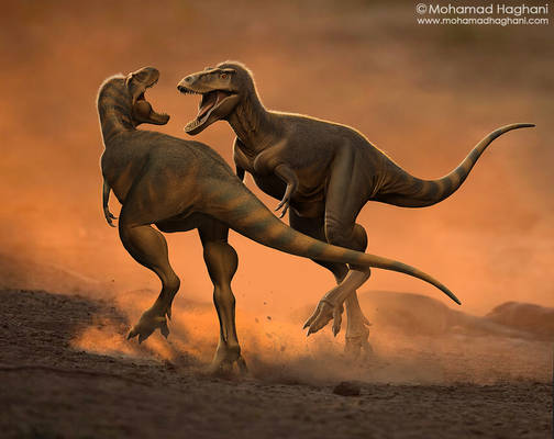 Two juvenile T. rexes
