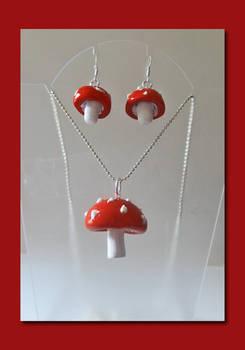 Fly Agaric Mushroom Pendant and Earring Set