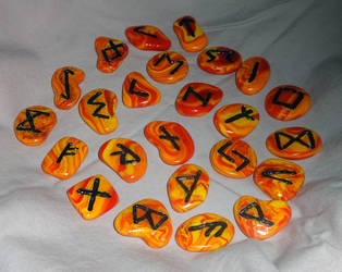 Embers: Elder Futhark Celtic Clay Rune Set by slarmstrong